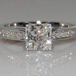 1 ct. Princess cut Diamond & Sterling Silver Ring